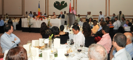 A partial view of guests at the banquet