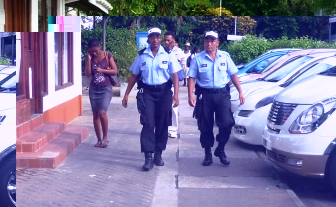 Police officers patrolling the streets yesterday (Photo by GT)