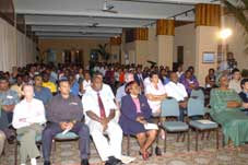 Minister Faure addressing delegates at the opening of the regional Youth–HIV/Aids workshop on Sunday