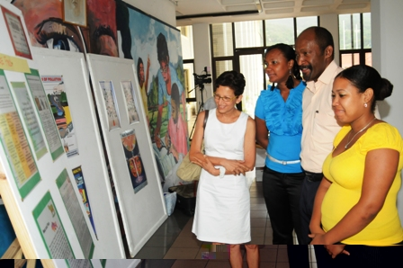 Minister Meriton and other guests viewing the exhibition