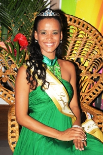 Sherlyn on the night she was crowned Miss Seychelles … Another World 2012