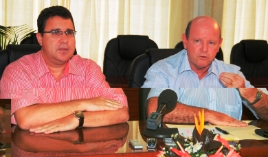 Ministers Laporte (left) and St Ange during the press conference yesterday