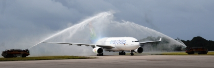 The aircraft gets a traditional water cannon reception upon arrival at the airport