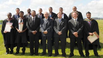 Seychellois graduates posing with Messrs Benoiton and Asba