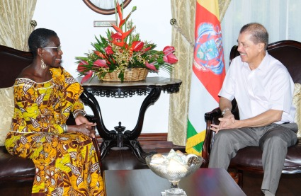 Ms Sayeh meeting President Michel Monday at State House