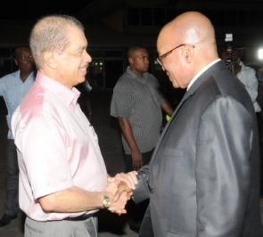 President Michel seeing off President Zuma at the Pointe Larue airport last night