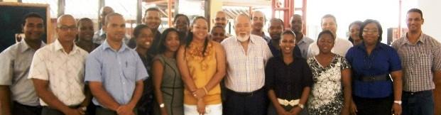 The SYLP participants in a souvenir photograph with Mr Mancham
