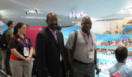 Minister Meriton and PS Rose at London's Aquatic Centre