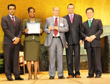 Mr Choppy and Ms Dorby with Messrs Jumeau and Pillay and UN officials after Seychelles got the award in New York recently