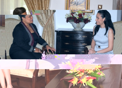 Mrs Michel (right) during her meeting with Dr Athanasius Thursday