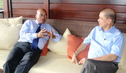 President Michel and President Zuma during their tête-à-tête at the Constance Ephelia Resort on Wednesday