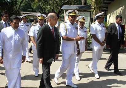 President Michel on his visit at the In-shore Petrol Craft Construction Project boatyard at SLNS Mahasen in Welisara