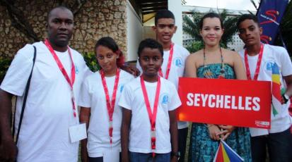 Members of the Seychelles team at the opening ceremony