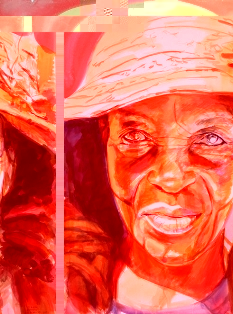 """One of the works by American artist Stephen Bennett entitled """"Theresa"""". It featured in the exhibition called Portraits of Seychelles & Tanzania held at the Seychelles National Art gallery in June 2001"""