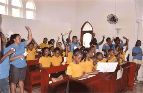 One of the groups of children at the height of praise