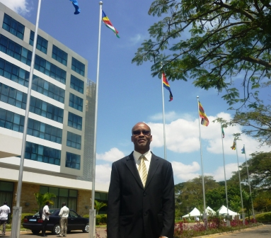 Director of Ecsa-HC's finance Dr Egbert Moustache at the venue of the four meetings, as Seychelles' flag flies high