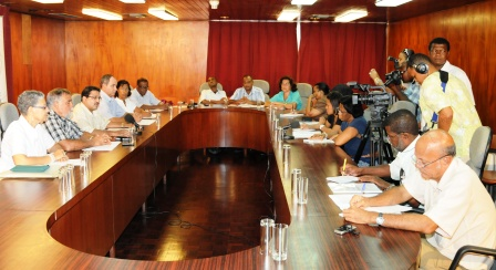 Members of the electoral commission answering journalists' questions during Friday press conference