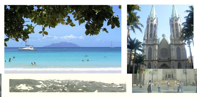 A beach scene in Seychelles (left) and a majestic cathedral in Brazil