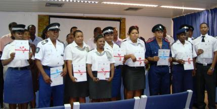 Law enforcement officers with their certificates after completing a course on how to detect illegal trade in ODS