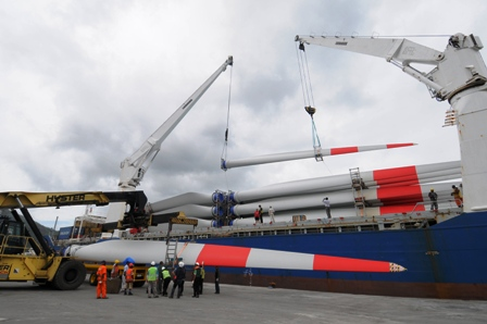 Offloading the turbine parts Thursday at the New Port