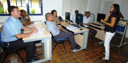 Course manager Mrs Meetoo with trainers at the SIM last year