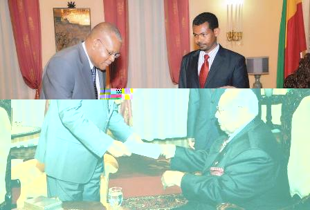 Mr Nourrice presents his credentials to President Wolde-Giorgis