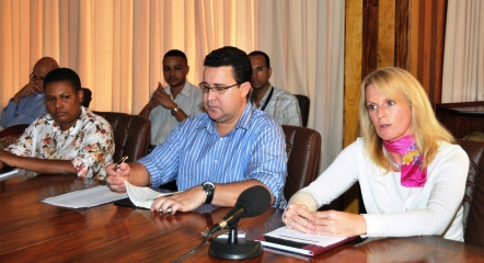 (From r to l) Ms Baker, Minister Laporte and Ms Abel at the press conference yesterday