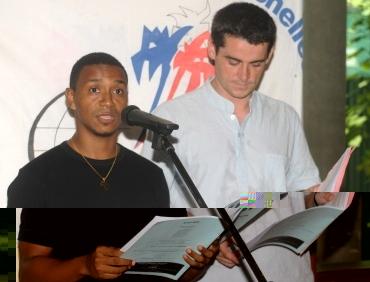 Reuban during a poem recital