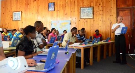 Teachers following a training session