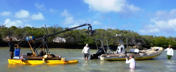 The crew during one of their filming sessions on Aldabra