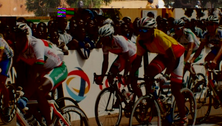 Pothin (1st right) during Sunday's gruelling 170km road race in Ouagadougou