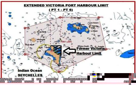 The extended and former Port Victoria Harbour Limits compared