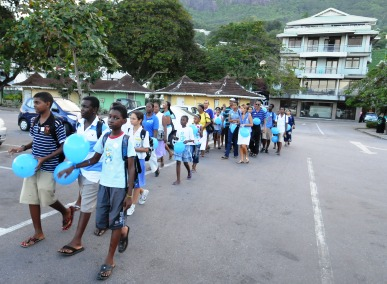 The march entering the stadium car park