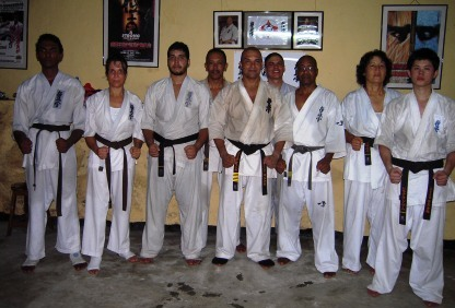 The six karatekas with their instructors