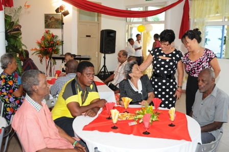 Minister Larue and PS Laporte interacting with the elderly at the North East Point home