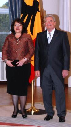 Ms Fock Tave and President Gauck during her  accreditation visit