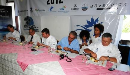 The judges sampling the dessert before giving their final verdict