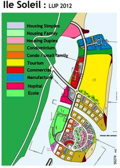 Diagram showing the land use plan for Ile Soleil
