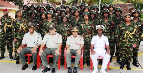 Brigadier Payet and other top ranking officials in a souvenir photo with the new recruits