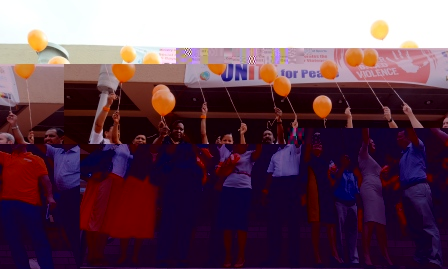 Guests releasing orange coloured balloons at yesterday's ceremony