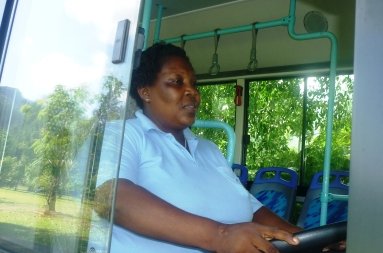 Bus driver Melita Laira. Barriers against women have been broken in most fields in Seychelles