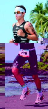 Running the marathon leg of the Ironman World Championship in Kona, Hawaii