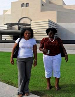 Marie-Annette Lawen and Geraine Antat (left) outside the National Museum in Doha