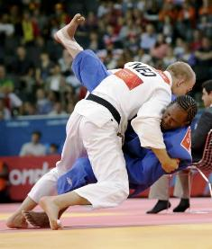 The first Seychellois to qualify for the London Games, judoka Dominic Dugasse (right) lost by
