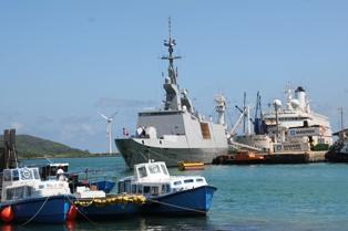 La frégate légère furtive Surcouf au Port Victoria