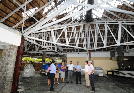 Tourism and hotel officials inspecting the damage on Friday