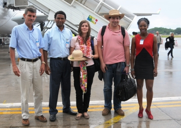 Aviation and STB officials welcoming the 200,000th visitor to Seychelles at the end of last year