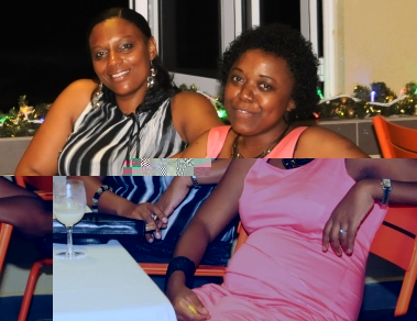 Miss Lucas (right) relaxing with her friend Raymonde Ernesta during the festive season