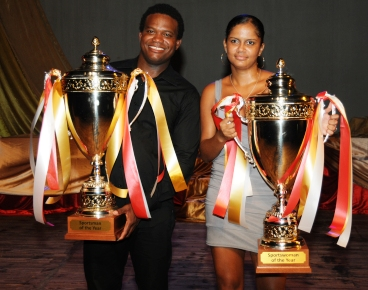 Outgoing Sportsman of the Year Allan Julie and Sportswoman of the Year Alisen Camille