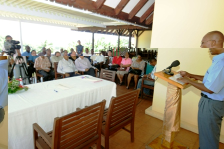 Mr Cafrine addressing guests at the hand-over ceremony